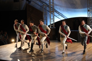 The ensemble guides the performance of Cymbeline.  Photo credit - David Blue