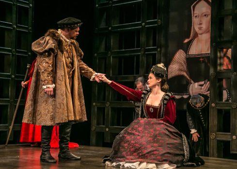 King Henry (David Foubert) greets his faithful wife, Queen Katherine (Jessica Wortham). Photo: © Jerry Dalia, The Shakespeare