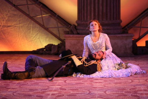 Luc Roderique (Othello) & Kayla Deorksen (Desdemona) OTHELLO, 2016 Bard on the Beach Photo: David Blue